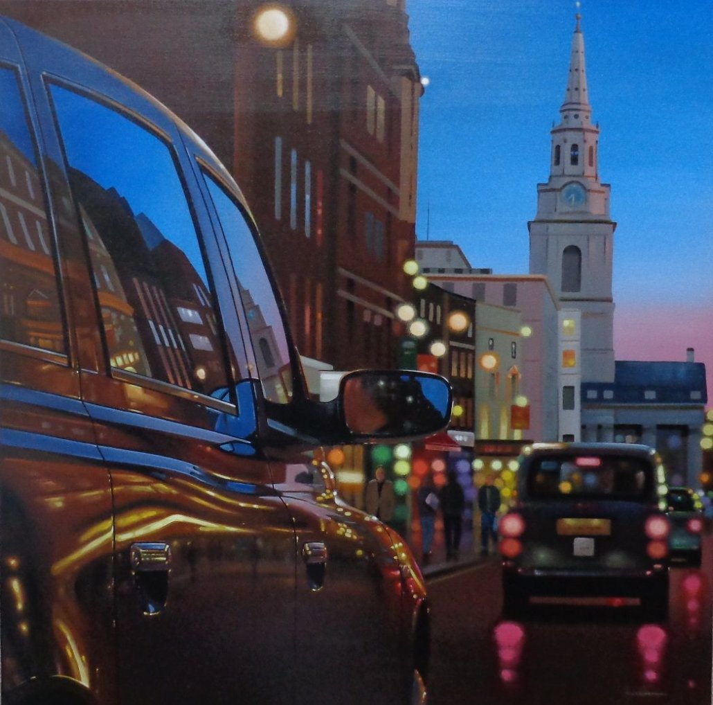 "Image 1 of London Dusk Reflections Original Framed.  Image Size 29.5"" x 29.5"