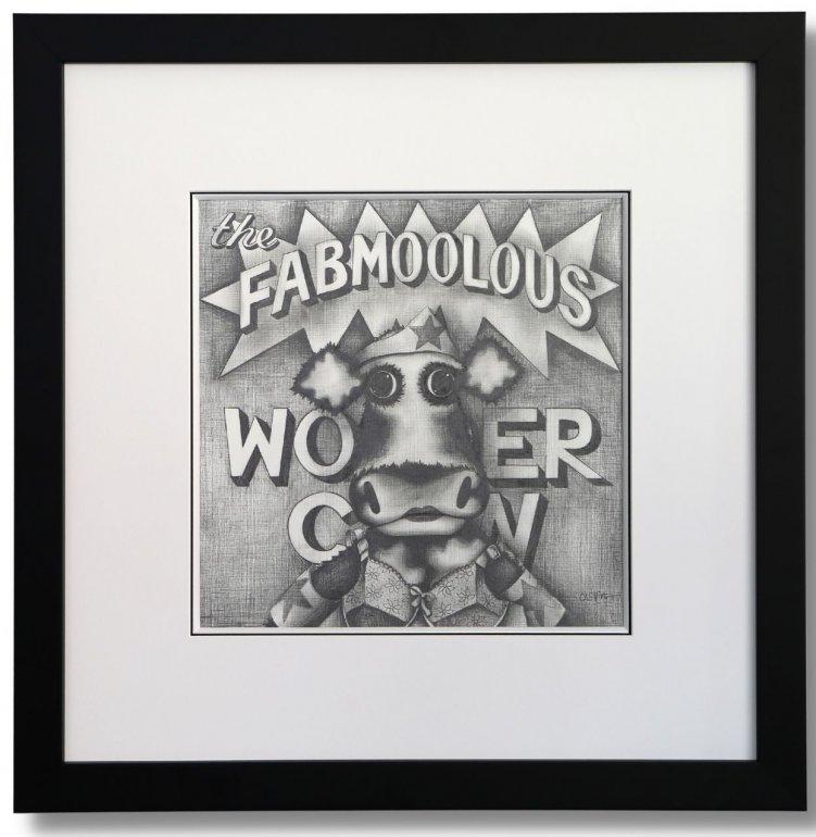Image 1 of The Fabmoolous Wonder Cow Original Pencil Sketch
